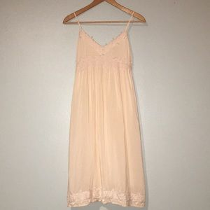 Forever 21 Midi Dress Peach with Lace Detailing